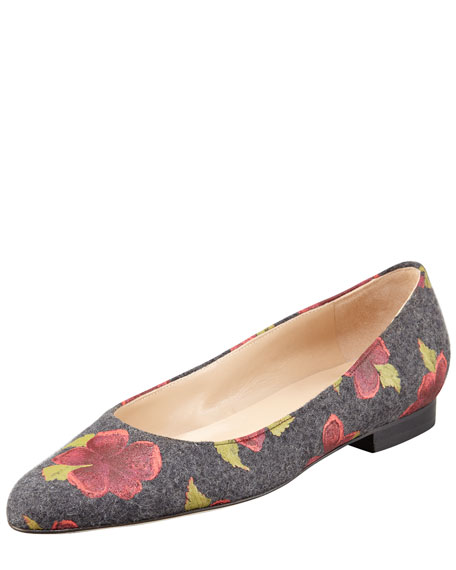 Gisellano Rose Flannel Ballet Flat