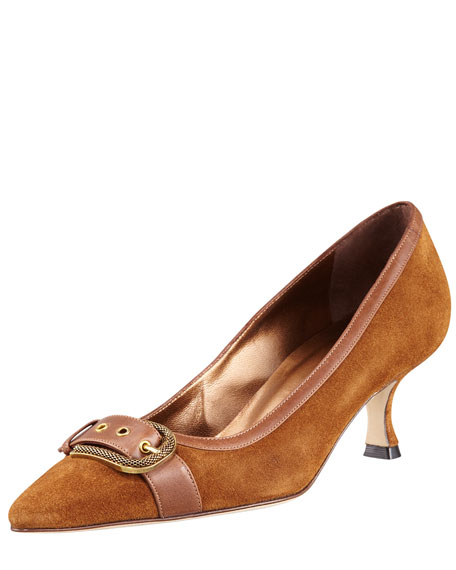Roumain Buckle-Detailed Pointed Pump