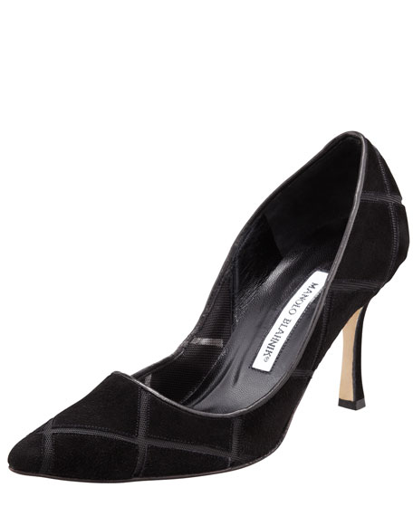 Newcio Suede/Mesh Pointed-Toe Pump
