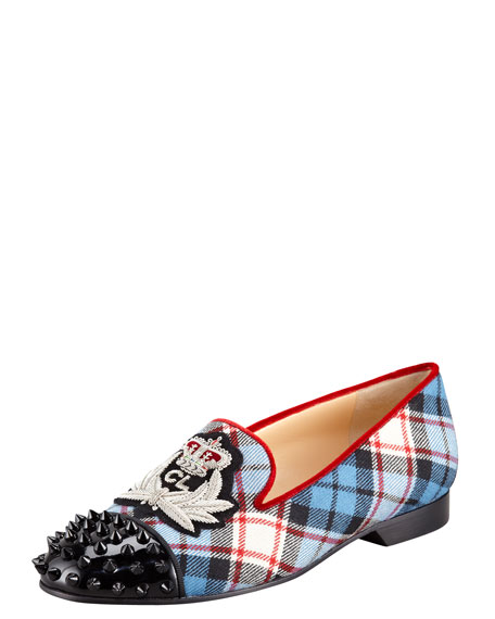 Intern Spiked Cap-Toe Plaid Red Sole Loafer