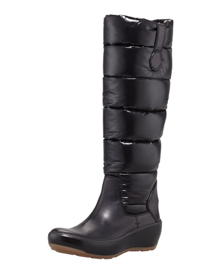 Nibble Quilted Wedge Boot, Black