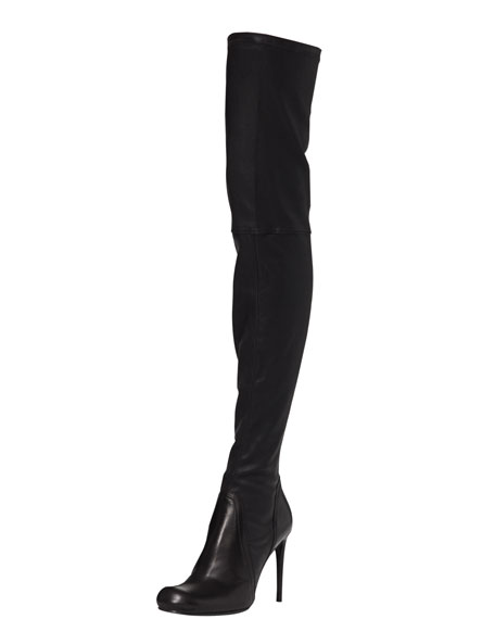 Over-the-Knee Stretch Leather Boot