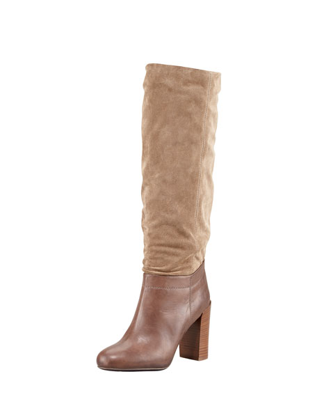 Corrine Suede and Leather Knee Boot