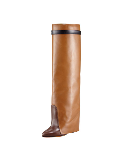 Tricolor Wedge Knee Boot