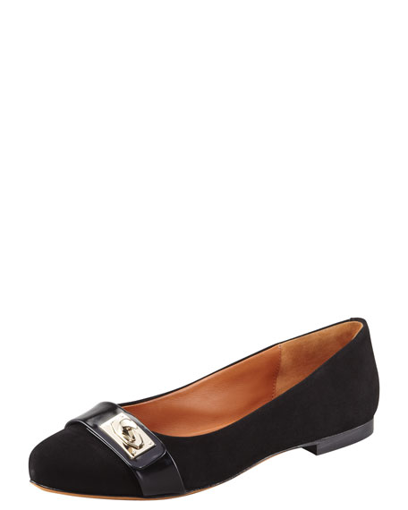 Suede Shark-Lock Ballerina Flat, Black