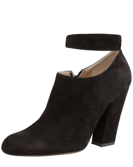 Ankle-Strap Suede Bootie