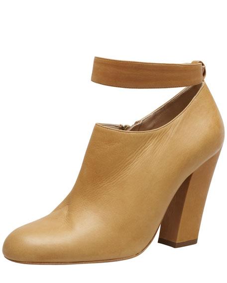 Ankle-Strap Calfskin Bootie