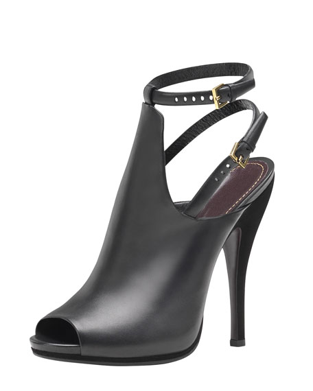 Jane Open-Toe High-Heel Leather Bootie