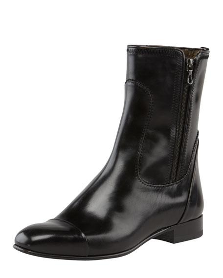 Cap-Toe Flat Leather Boot