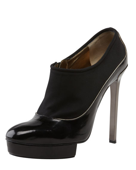 Island-Platform Leather Bootie