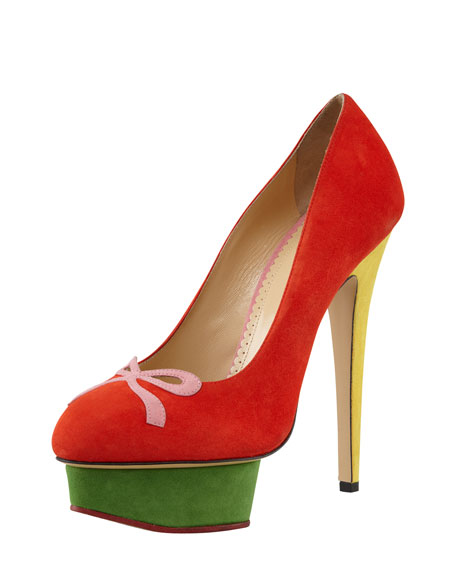 Arabella Colorblock Suede Bow-Toe Pump
