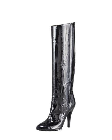 Nail Polish Effect Knee Boot