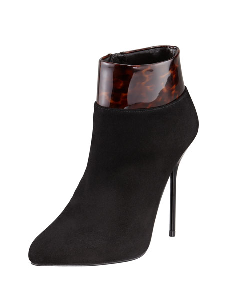 Close Call Patent-Trimmed Suede Stiletto Bootie