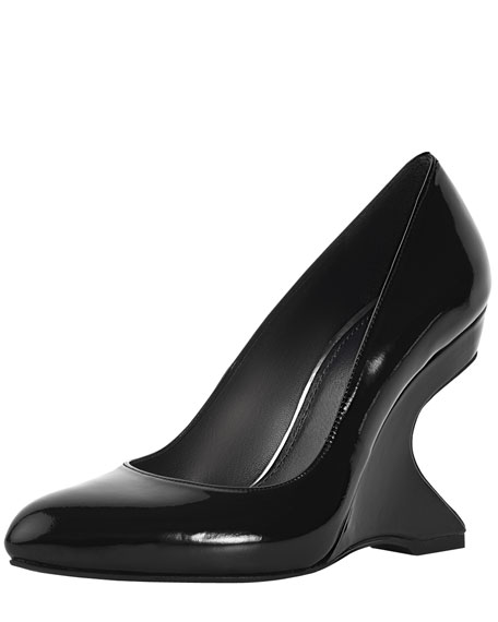 Pleasant Crystal-Cutout Wedge Pump