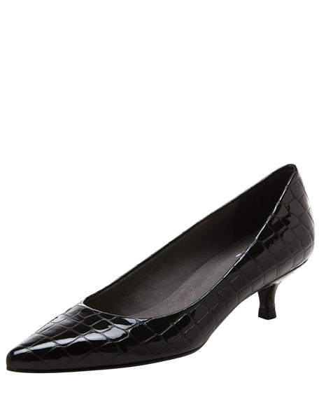 Crocpoco Embossed Kitten-Heel Pump