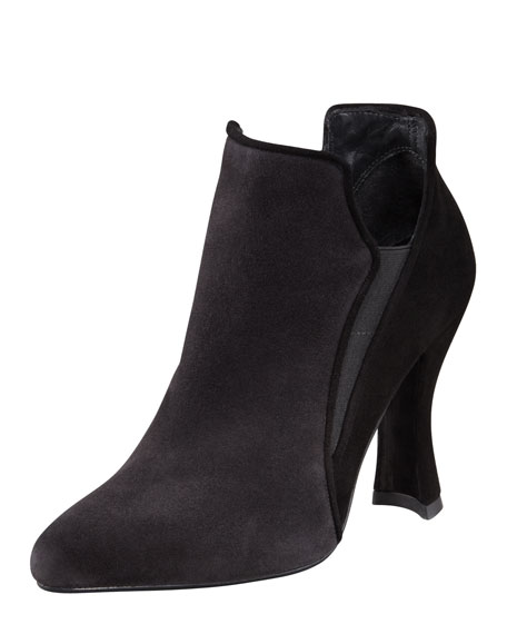 Spliced Colorblock Suede Ankle Boot