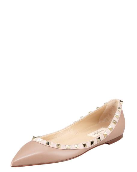 Rockstud Leather Ballerina Flat