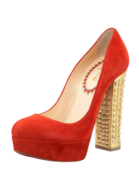 Bois Dore Veau Velour Red Sole Pump