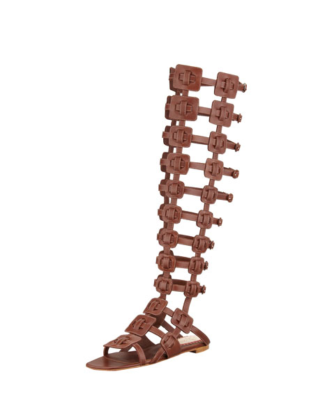 Rose Du Desert Flat Gladiator Red Sole Sandal