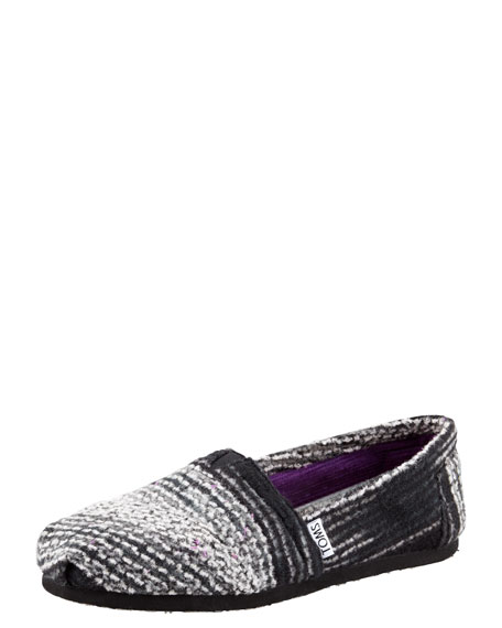 Striped Wool Slip-On, Black