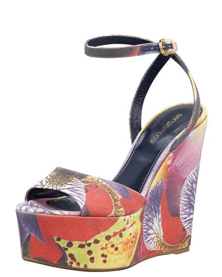 Floral-Print Canvas Wedge Sandal