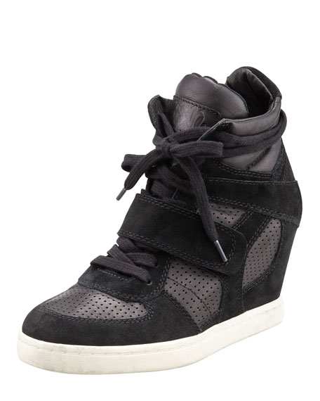 Leather-Suede Wedge Sneaker