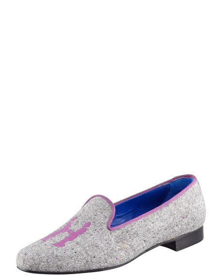 Audrey Tweed Smoking Loafer, Purple