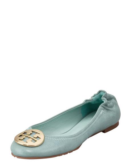 Reva Tumbled Ballerina Flat, Sea Glass