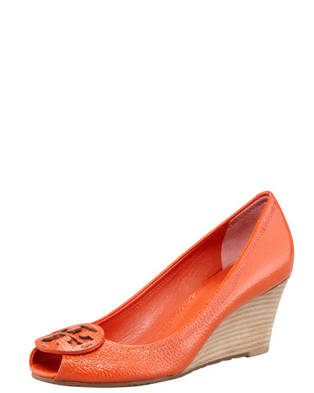 Sally2 Patent Peep-Toe Wedge, Flame Red