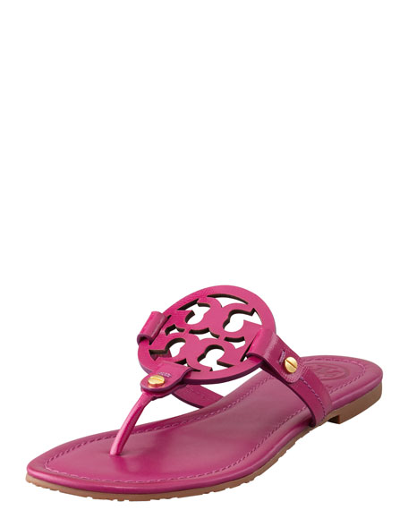 Tory Burch Miller Logo Flat Thong Sandal, Party Fuchsia