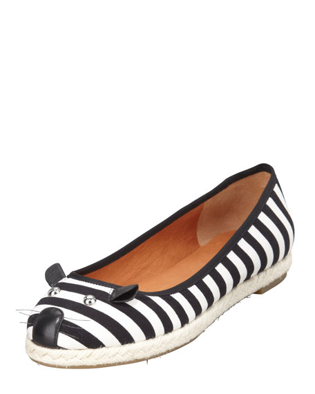 Mouse Striped Espadrille Flat
