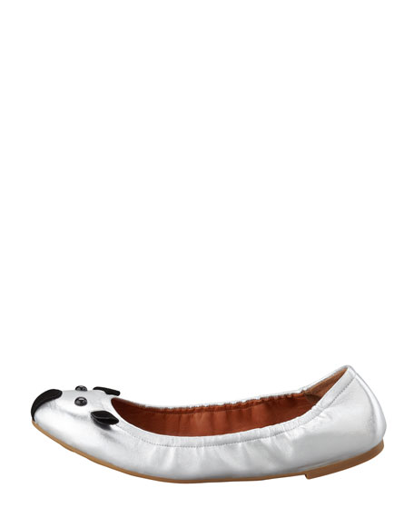 Soft Mouse Ballerina Flat, Silver