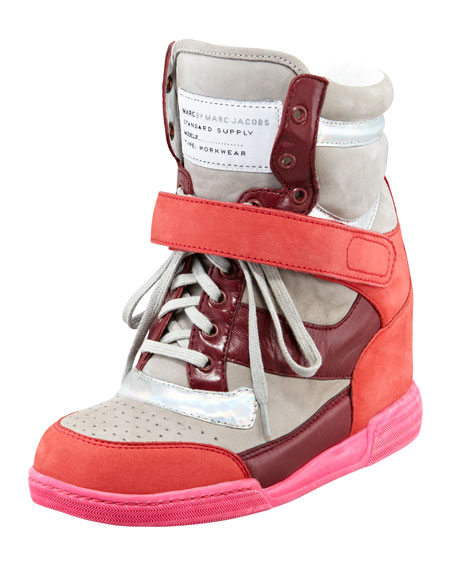 Internal Wedge Sneaker, Silver/Wineberry