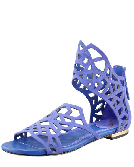 Cutout Suede Flat Sandal, Purple