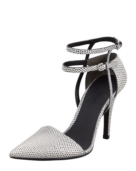 Emma Strappy Lizard-Embossed Pump