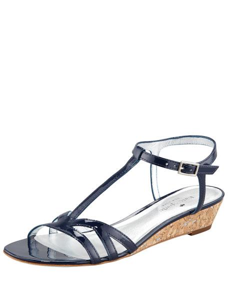 violet cork wedge sandal, navy