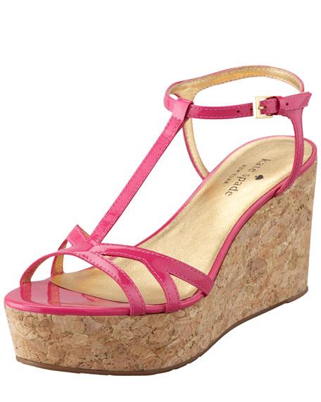 theodora cork wedge sandal, pink