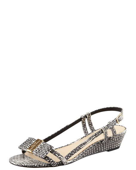 vita snake-print low-wedge sandal