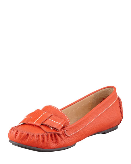 willie tumbled leather loafer, orange
