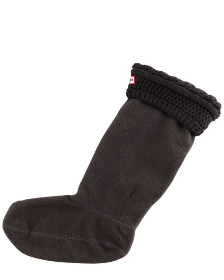 Moss Cable-Cuff Fleece Welly Socks, Graphite