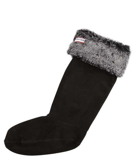 Grizzly-Cuff Fleece Welly Socks, Black