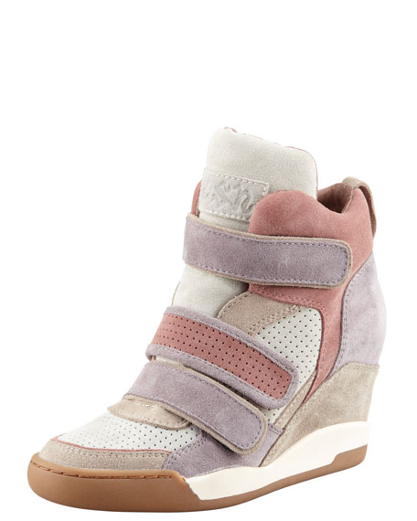 Colorblock Suede Wedge Sneaker, Sabbia