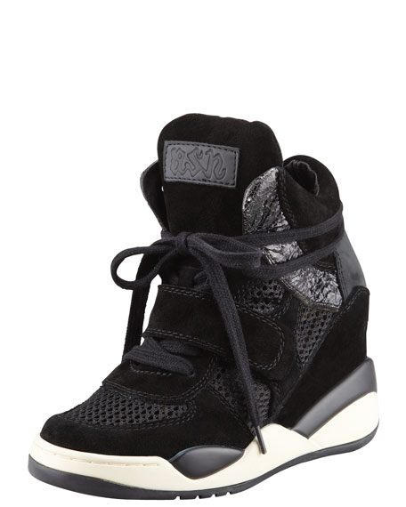 Mesh and Suede Wedge Sneaker, Black