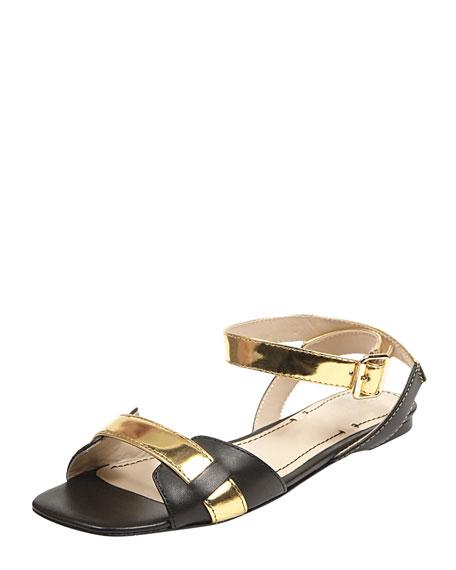 Two-Tone Ankle-Wrap Sandal, Black