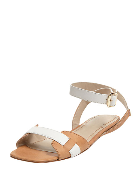 Two-Tone Ankle-Wrap Sandal, Tan