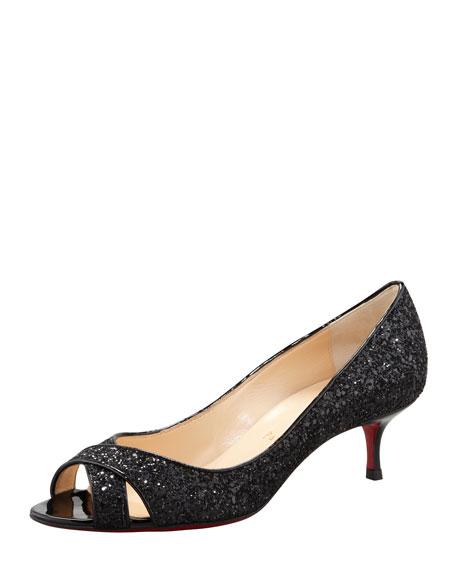 Croisette Low-Heel Red Sole Glitter Pump, Black