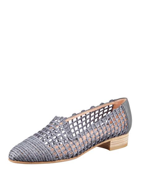 Intermez Flat Woven Twine Loafer, Steel