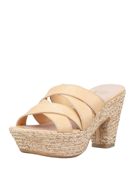 Sliderules Strappy Leather Wedge Slide, Nude
