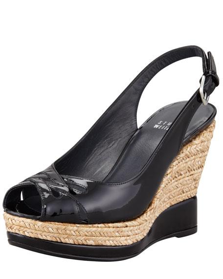 5dbbc6a49c8 Dolunch Patent Espadrille Wedge Sandal Black