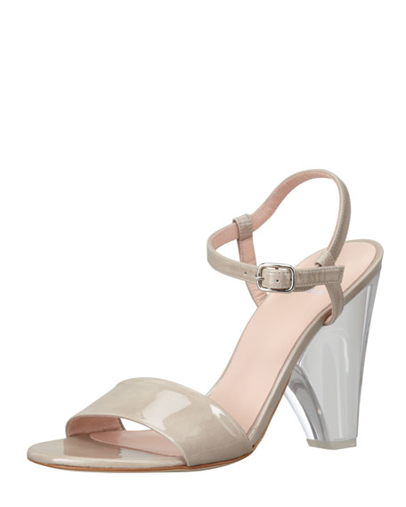 Stuart Weitzman Lucite-Heel Leather Sandal